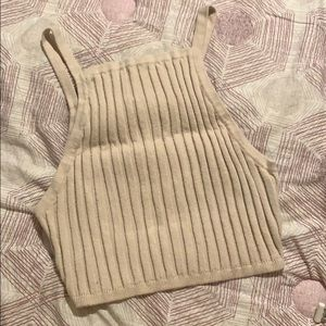 Urban Outfitters Tan Ribbed Knit Crop Top